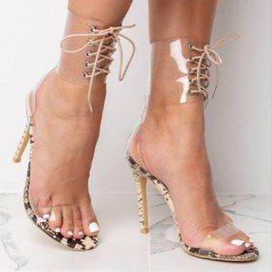Lace Up Ankle Wrap Snake Print Heels